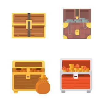 Симпатичный набор разных сундуков мультфильм иллюстрация