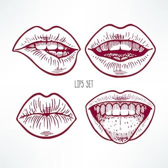 さまざまなスケッチの唇のかわいいセット。手描きイラスト