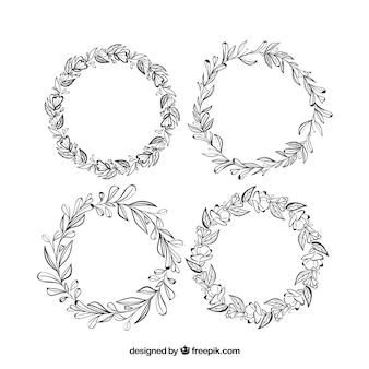 Симпатичный набор рисованных цветочных рам