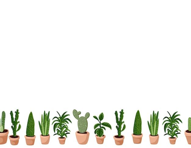 Милый набор hygge горшечных суккулентных растений бесшовные. плитка формата lagom скандинавского стиля украшения фона текстуры плитки пространство для текста