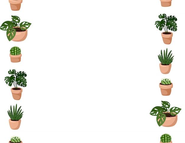 Милый набор hygge горшечных суккулентных растений бесшовные модели. буква формата лагом в скандинавском стиле