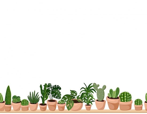 Милый набор hygge горшечных суккулентных растений бесшовные модели.