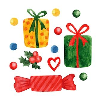 ギフトとクリスマスボールと新年とクリスマスの水彩イラストのかわいいセット