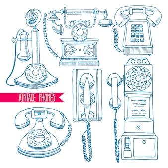 スケッチヴィンテージ電話のかわいいセット。手描きイラスト