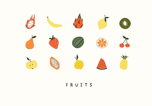 여름 과일 파인애플, 수박, 파파야, 레몬의 귀여운 세트. 엽서, 인사말 카드, 티셔츠 디자인을 위한 아늑한 휘게 스칸디나비아 스타일 템플릿입니다. 평면 손으로 그린 만화 스타일의 벡터 일러스트 레이 션