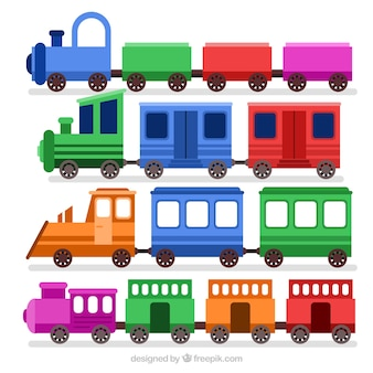 Симпатичный набор игрушечных поезда с фантастическими цветами