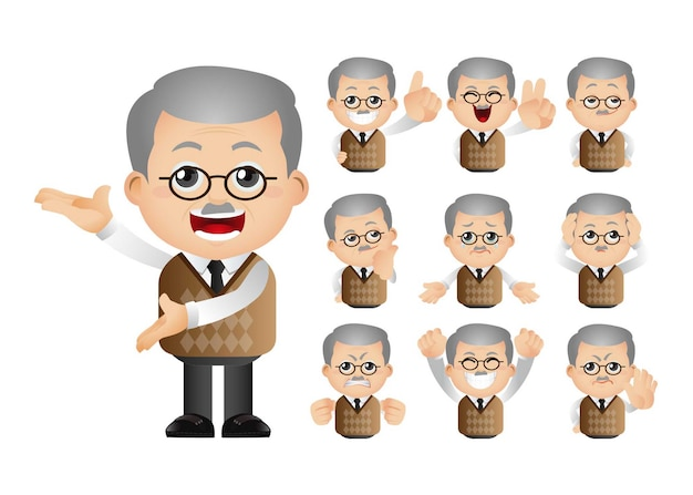 Cute set of old man