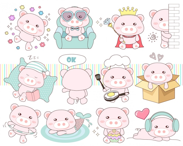 Cute set pig collection
