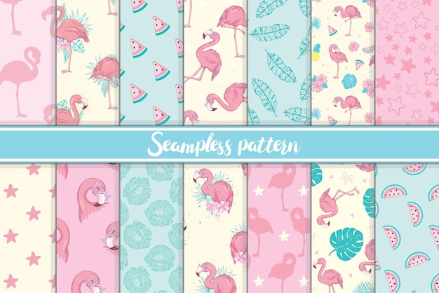 Cute set of pink flamingo tropical vibes seamless patterns.
