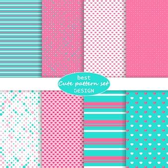 귀여운 세트. 물방울 무늬, 줄무늬, 하트 패턴입니다. 핑크, 블루 색상.