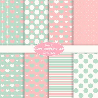 Cute set. polka dot, stripes, hearts pattern. retro style. pastel colors.