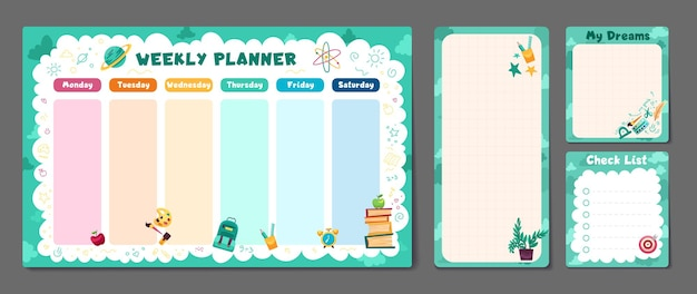 Cute set of printable weekly or daily planner note paper design school timetable scheduler