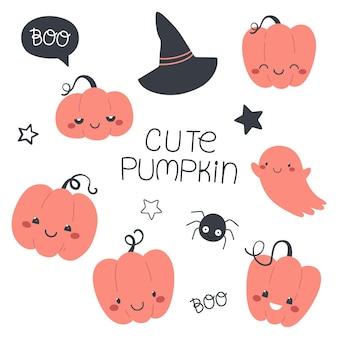 Cute set of pumpkins childrens halloween illustration vector isolates