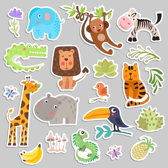 Cute set of savanna and safari funny cartoon stickers of animals and flowers.