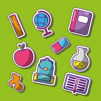 Cute set of school patches funny elements