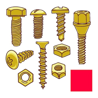 Cute set of screws and nuts. hand-drawn illustration