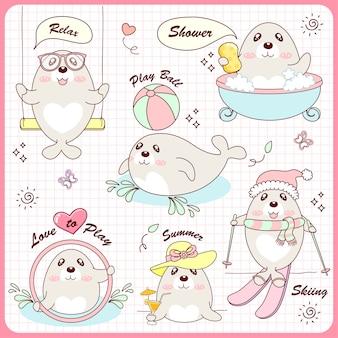 Cute set sea lion love