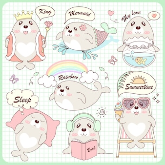 Cute set sea lion