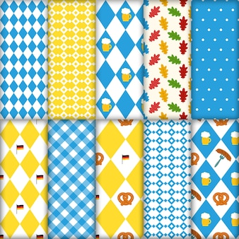 Cute set of seamless traditional octoberfest patterns