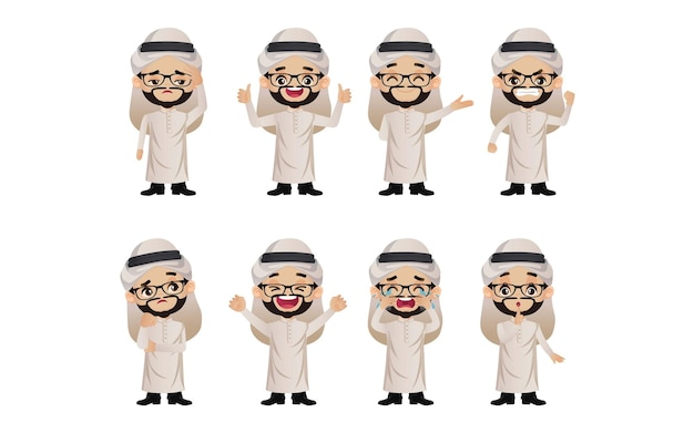 Cute set - set of arab business people with different emotion