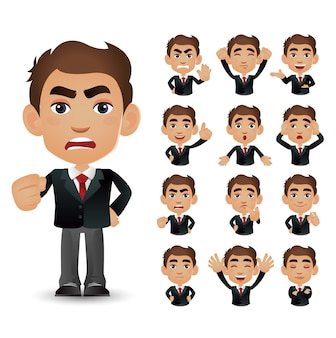 Cute set - set of business people with different emotion