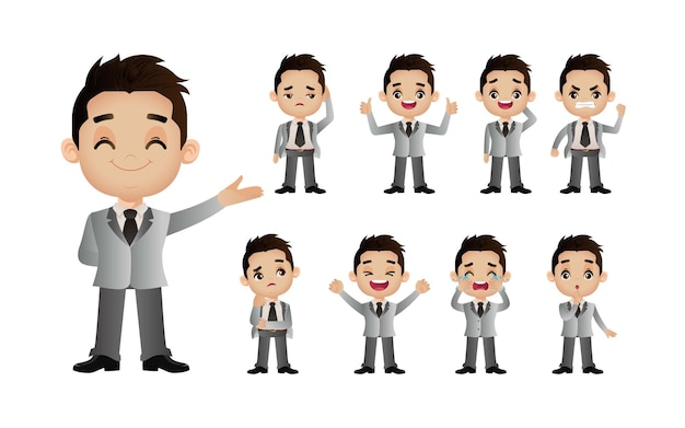 Cute set  set of business people with different emotion