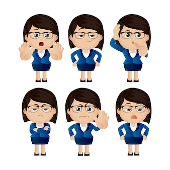 Cute set - set of businesswoman character