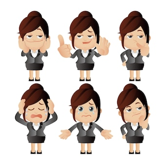 Cute set  set of businesswoman character