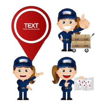 Cute set - set of delivery person