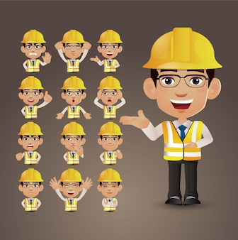 Cute set - set of engineer with different emotion