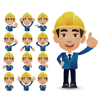 Cute set - set of engineer with different emotions