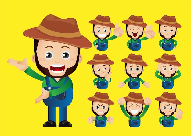 Cute set  set of  farmers and gardeners