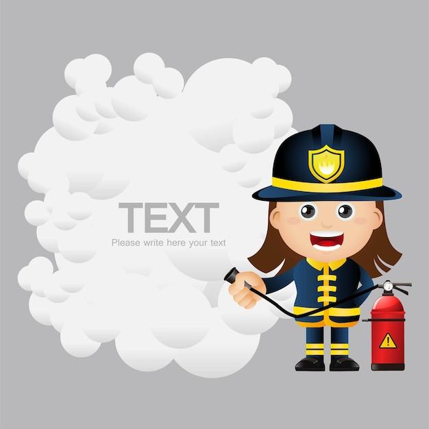 Cute set  set of firefighter