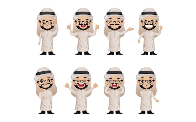 Милый набор - набор арабских деловых людей с разными эмоциями Premium векторы