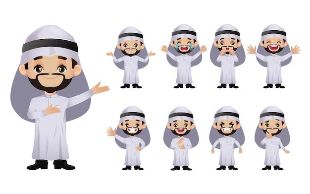 귀여운 세트-다른 감정을 가진 아랍 비즈니스 사람들의 집합