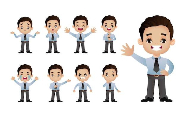 かわいいセット-さまざまな感情を持つビジネスマンのセット