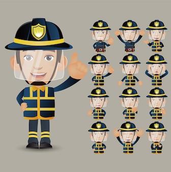 かわいいセット-さまざまな感情を持つ消防士のセット