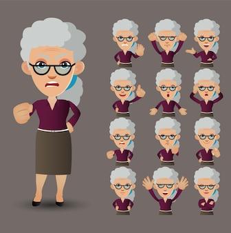 かわいいセット-感情の異なるお年寄りのセット