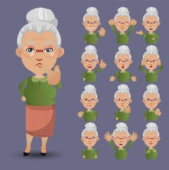 Милый набор - набор старых людей с разными эмоциями