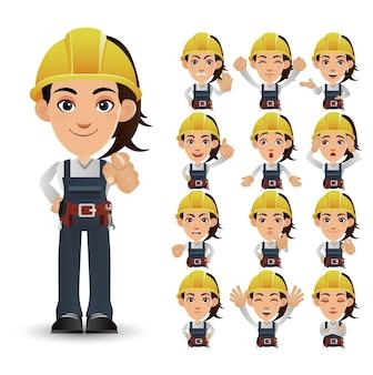 かわいいセット-さまざまな感情を持つ労働者のセット