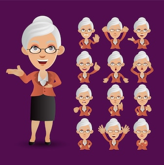 Cute set - set of old people with different emotion
