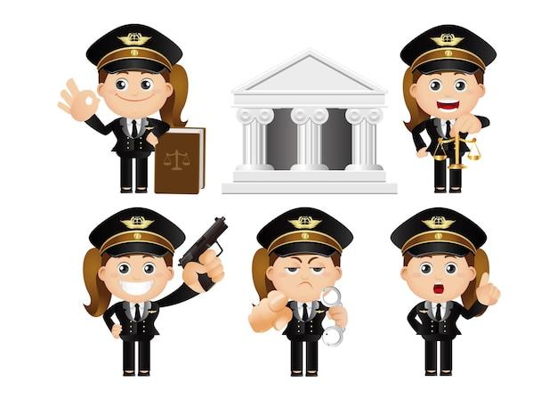 Cute set  set of policeman