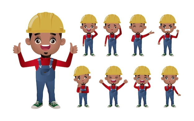 Cute set.  set of worker with different emotion.
