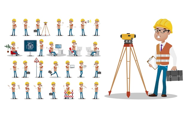 Cute set  set of worker with different emotion