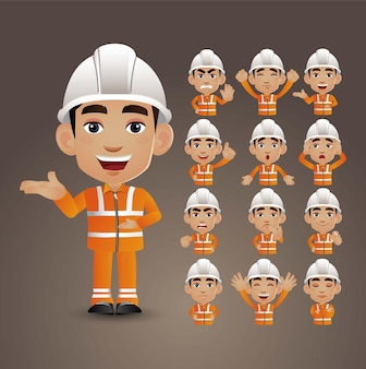Cute set - set of worker with different emotions