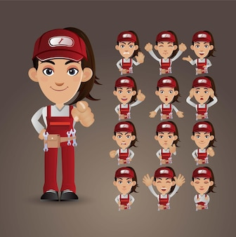 Cute set  set of worker with different emotions
