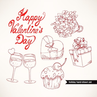 Милый набор ко дню святого валентина с подарками, цветами и бокалами шампанского