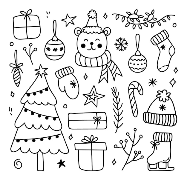 Cute set of winter and christmas doodles