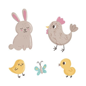 Cute set with spring animals butterfly, chicks, chicken and rabbit on white background