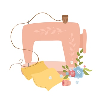 Cute sewing machine illustration